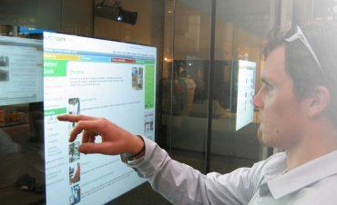 man using Interactive digital signage