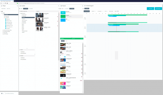 Digital signage display management software interface